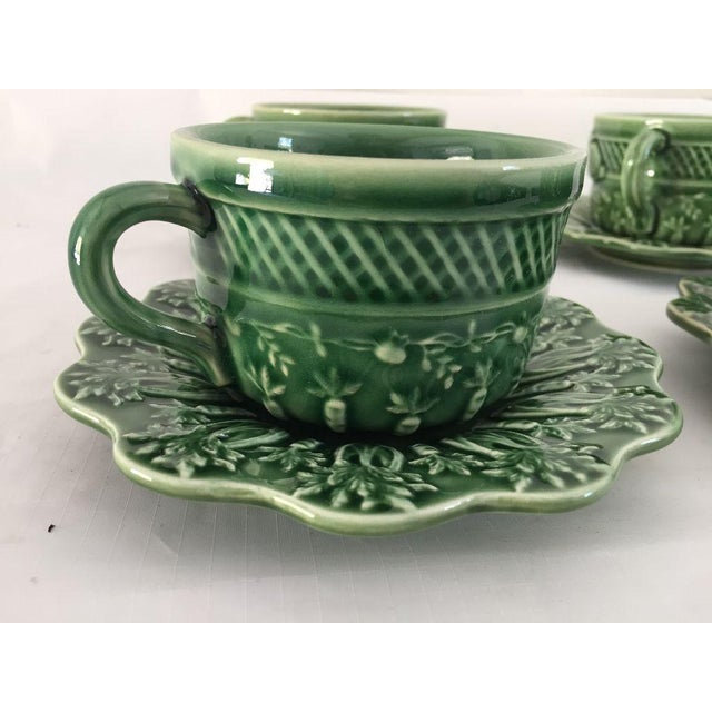 Bordallo Pinheiro Green Majolica Teacups & Saucers - Set of 4 For Sale In New York - Image 6 of 8