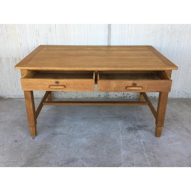 1950s Mid Century Modern Pine Desk With Two Drawers For Sale - Image 5 of 13