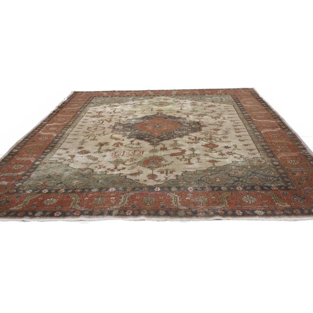 English Distressed Antique Turkish Sparta Rug - 08'08 X 11'06 For Sale - Image 3 of 4
