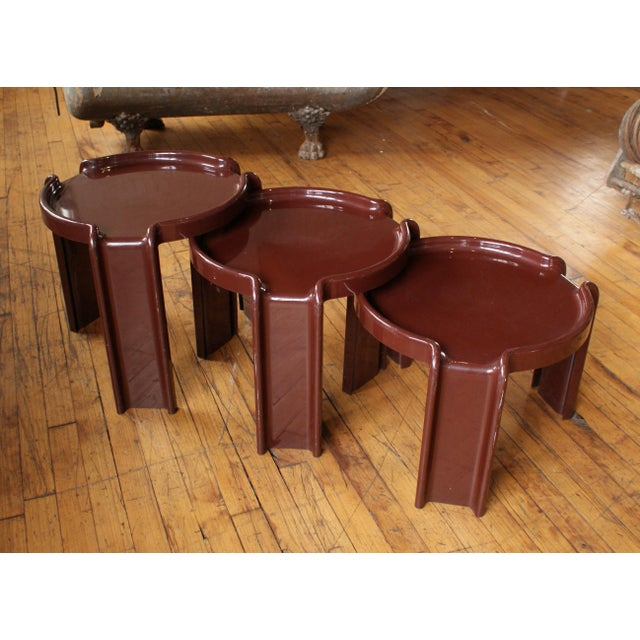 Brown Giotto Stoppino for Kartell Chocolate Brown Nesting Tables - Set of 3 For Sale - Image 8 of 8