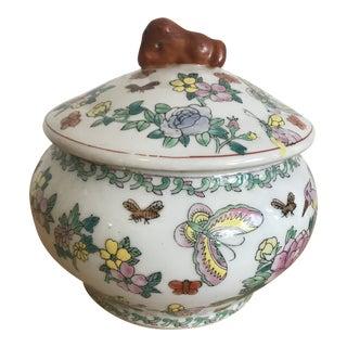 Vintage Lidded Butterfly Jar For Sale