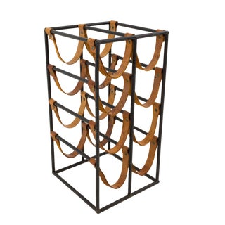 Arthur Umanoff Mid Century Modern Small Iron Wine Rack For Sale