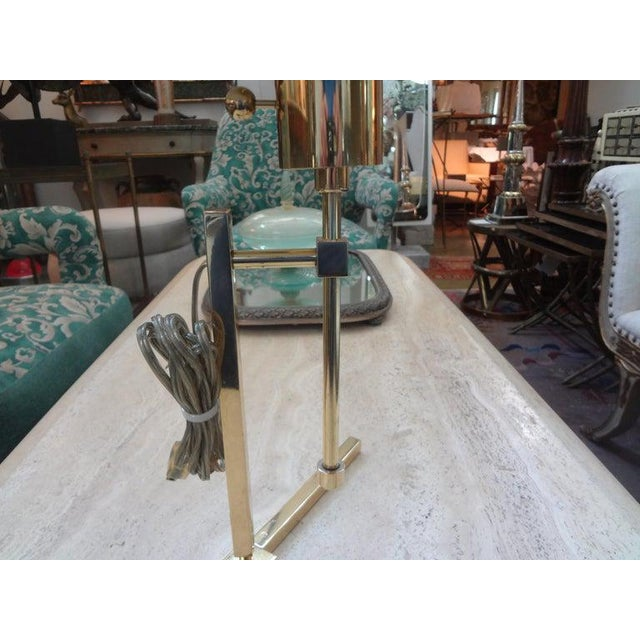Vintage Polished Brass Lamp With Brass Shade For Sale In Houston - Image 6 of 13