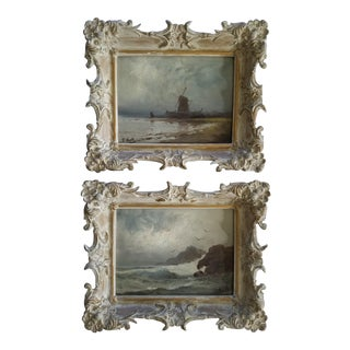 F. Hall Period Seascape Paintings - a Pair For Sale