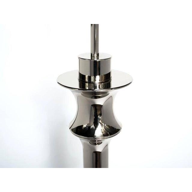 Silver Pair of Hollywood Regency Sculptural Floor Lamps in Nickel For Sale - Image 8 of 10