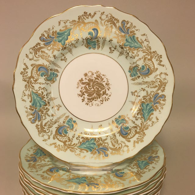 Royal Cauldon Gainsborough Teal Green Salas Dessert Plates Set 10 features a wide mint green band with teal/turquoise...