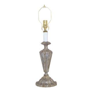 Vintage Florentine Carved Wood Silver Leaf Lamp For Sale