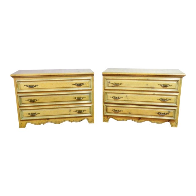 French Country Pine Commodes - a Pair For Sale