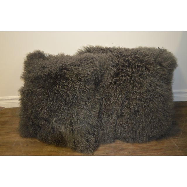 """24"""" X 24"""" Grey Curly Lamb's Wool Skin Decorative Pillows - a Pair For Sale - Image 9 of 9"""