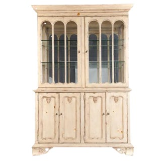 Country French Style Washed Pine China Cabinet by Domain Home Fashions For Sale