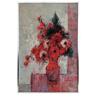 """Dutch Artist Jos Van Dijk """"Flowers"""" 1969 Painting For Sale"""