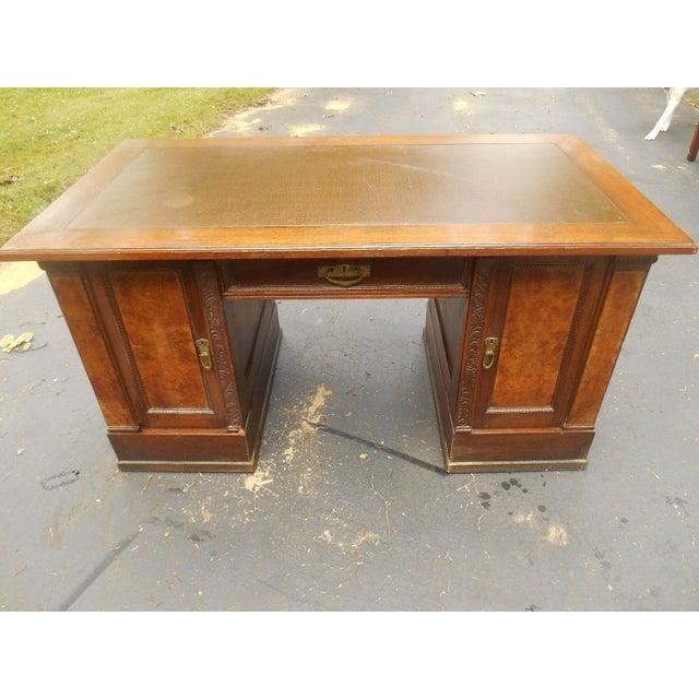 19th-C. Governor Winthrop Tiger Oak Desk - Image 2 of 9