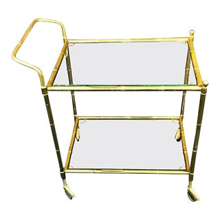 Brass Bamboo Bar Cart in the Manner of Bagues For Sale