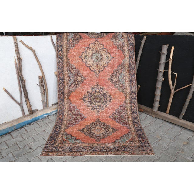 """Terra Cotta 1960's Vintage Turkish Hand-Knotted Wide Runner Rug - 4'4"""" X 12'5"""" For Sale - Image 8 of 11"""