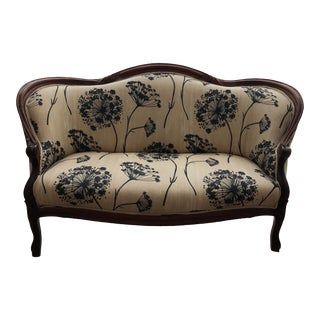 Floral Upholstered Mid-Century Settee