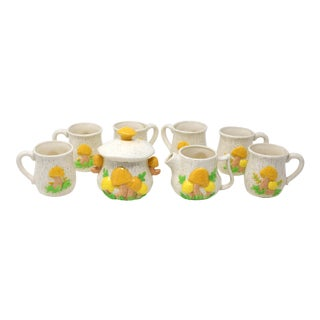 Vintage MCM Ceramic Mushrooms Coffee/Tea Set - Set of 8 For Sale