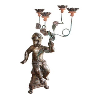 19th Century Italian Carved Wood Candelabra For Sale