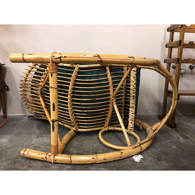 1960s Franco Albini Rattan Bamboo Rocking Chair For Sale - Image 9 of 11