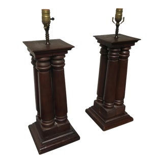 Early 20th Century Antique Wooden Architectural Table Lamps - a Pair For Sale