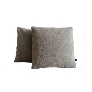 Greige Wool Boucle Pillow Covers - A Pair For Sale