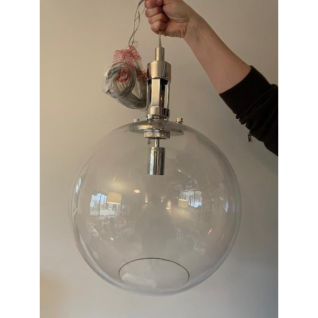 Silver Visual Comfort Gable Large Globe Pendant Polished Nickel For Sale - Image 8 of 8