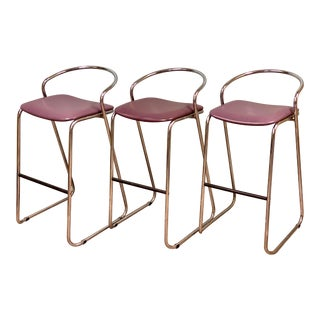 Loewenstein Polished Chrome Bar Stools-Set of 3 For Sale