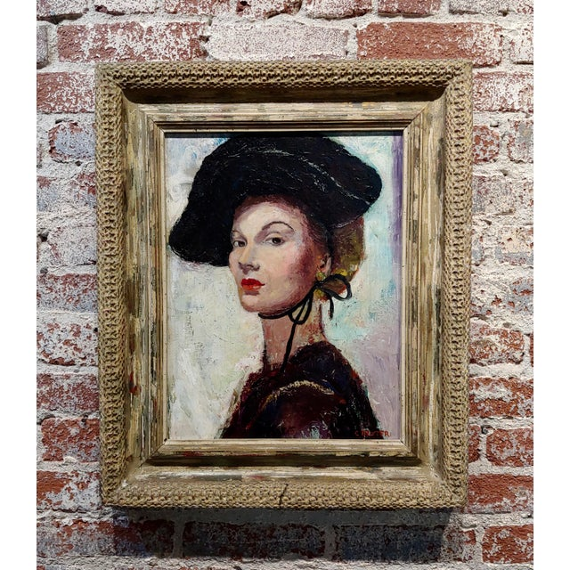 C. Dexter Portrait of a Stylish Woman With Black Hat Oil Painting For Sale - Image 9 of 9