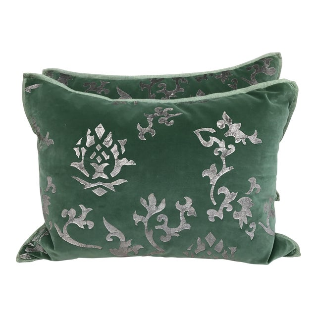 Silver Stenciled Green Velvet Pillows - A Pair - Image 1 of 7
