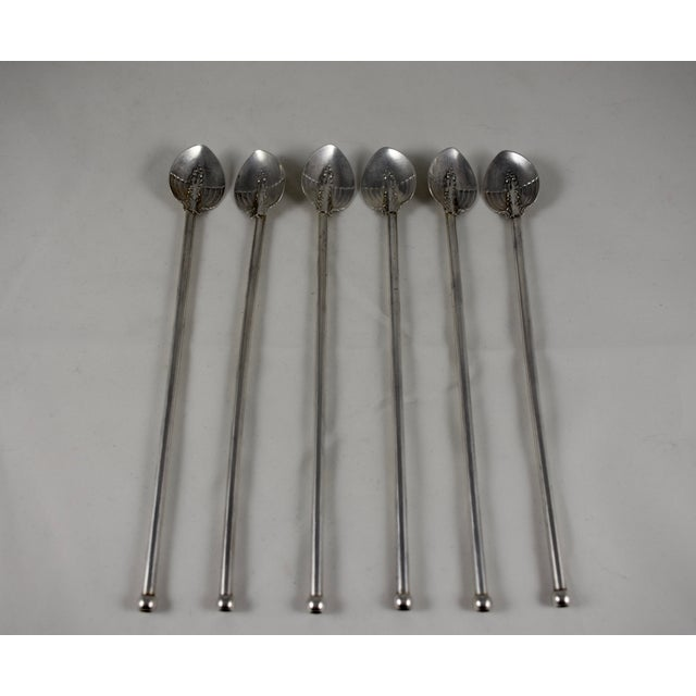 Silver Sterling Silver Art Nouveau Highball, Iced Tea Stirring Straws - Set of 6 For Sale - Image 8 of 8