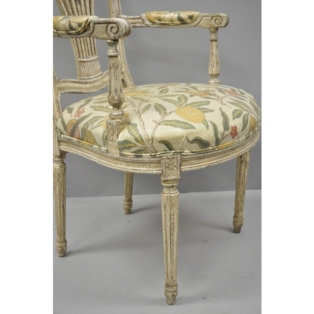 20th Century Louis XVI French Style Hot Air Balloon Back Dining Chairs - Set of 6 For Sale - Image 11 of 13