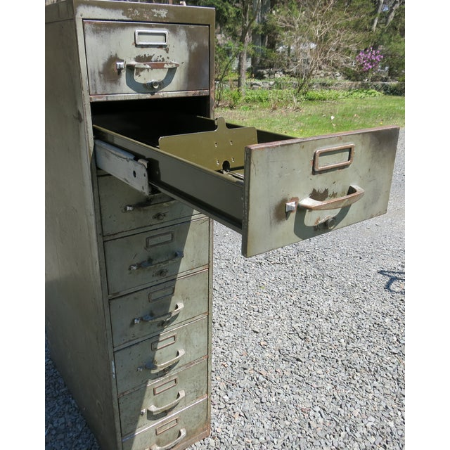 Industrial Vintage Industrial Metal File Cabinet For Sale - Image 3 of 11