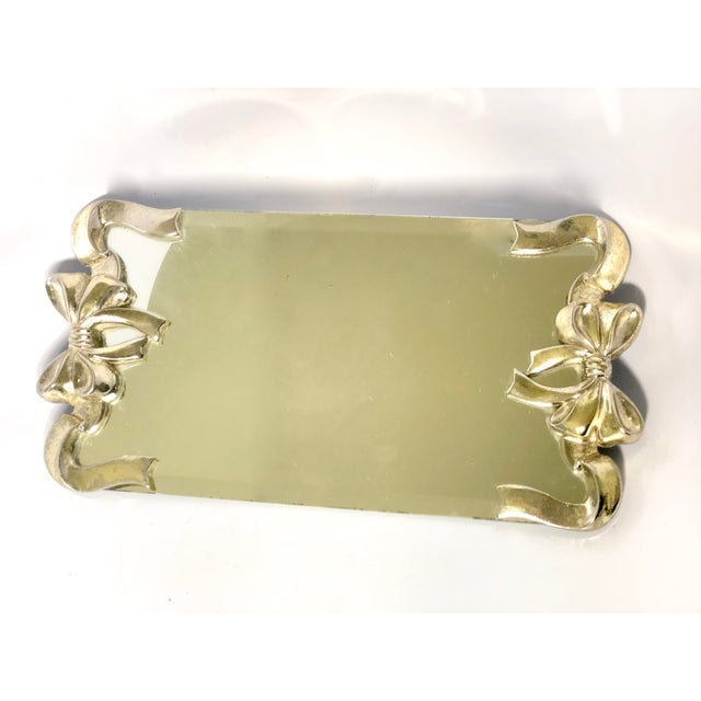 Mid 20th Century Vintage Silver Bow Glass & Mirrored Vanity Tray For Sale - Image 5 of 5