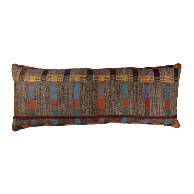 2010s Indian Handwoven Pillow in Japanese Stripe Design For Sale - Image 5 of 5