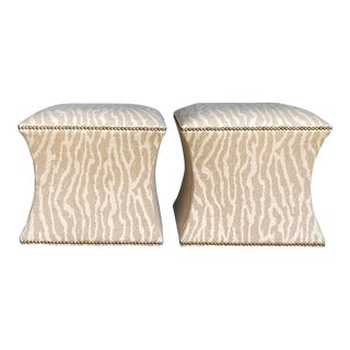 Vintage Contemporary Leopard Ottoman - a Pair For Sale