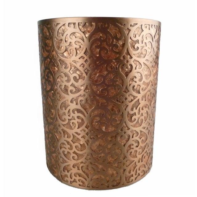 Decorative Capiz Shell & Metal Wastebasket For Sale