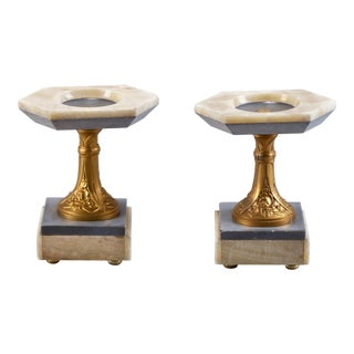 White Marble Art Nouveau Stands With Bronze Columns - Pair For Sale