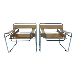 "Marcel Breuer Design ""Wassily"" Style Arm Chairs - a Pair For Sale"