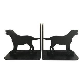 Vintage Black Lab Dog Bookends - a Pair For Sale