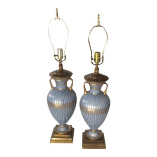Antique Blue and Gilt Porcelain Lamps - a Pair For Sale