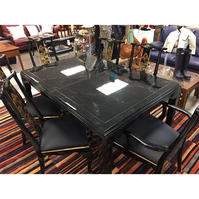 Century Furniture Black Lacquer Asian Dining Set For Sale - Image 9 of 13