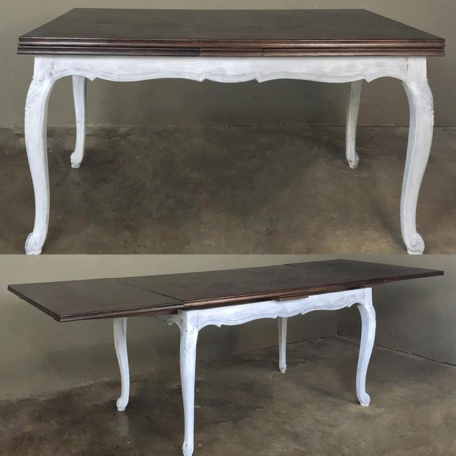 Antique Country French Draw Leaf Painted/Stained Dining Table For Sale - Image 12 of 12