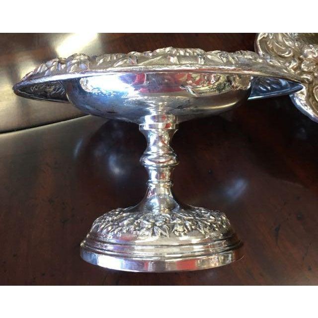 Art Nouveau Samuel Kirk Repousse Compote/ Bonbon Dish For Sale - Image 3 of 7
