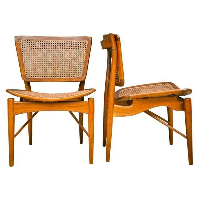 Caning Finn Juhl Walnut & Cane Chairs - a Pair For Sale - Image 7 of 7