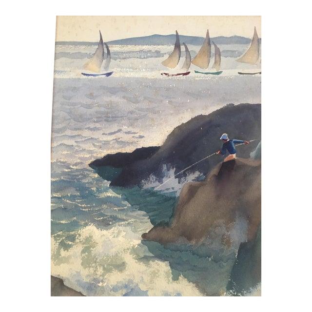 David L. Swasey Original Palais Bourbon, Paris on Reverse Side Watercolor Seascape Painting For Sale