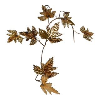 Vintage Brutalist Metal Leaf Wall Hanging For Sale