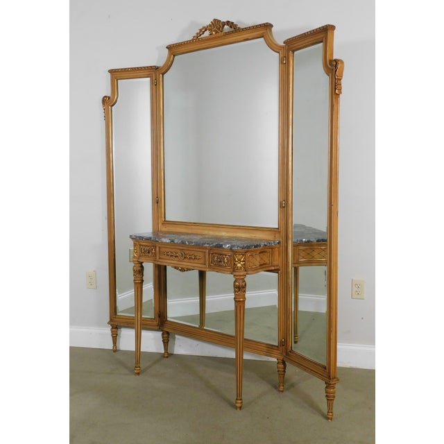 1920's Vintage French Louis XVI Style Tri-Fold Mirror with Dressing Table, Vanity For Sale - Image 10 of 13