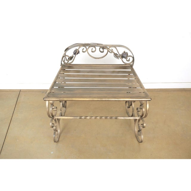 Wrought Iron Vanity & Mirror With Granite Table Top , Floral Accents & Coordinating Bench For Sale - Image 10 of 13