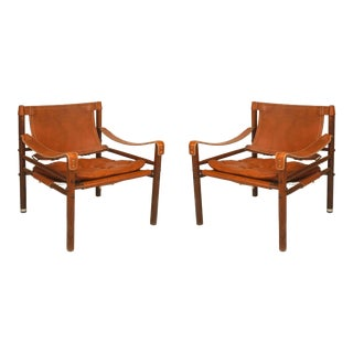 Swedish Post-War Leather Arm Chairs For Sale