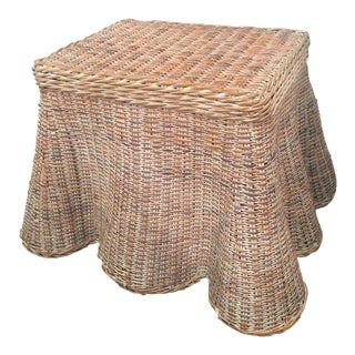 Vintage Draped Wicker Coffee Cocktail Table For Sale