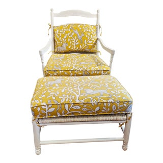 Upholstered Oversized French Country Chair & Ottoman For Sale